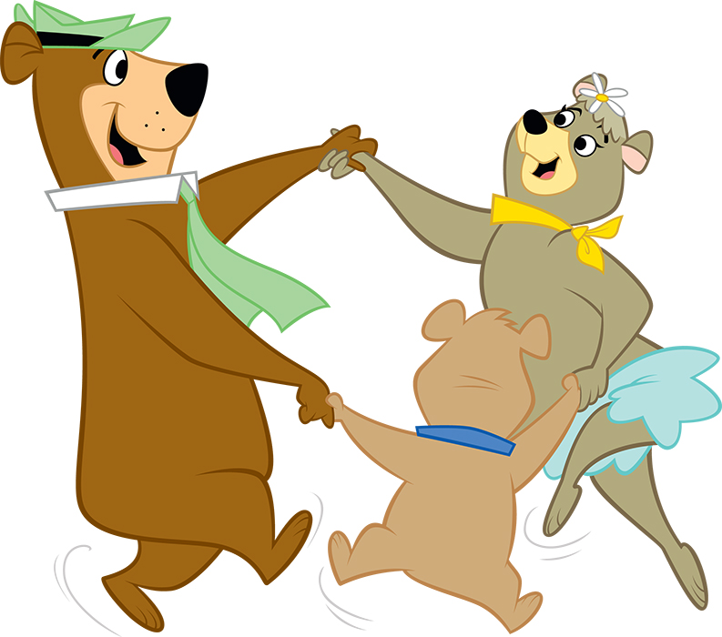 graphic of yogi bear, boo boo and cindy bear dancing