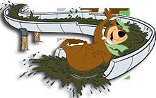 yogi bear sliding down a chocolate slide graphic