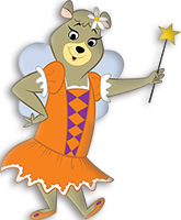 cindy bear is at jellystone park mexico wearing her princess dress and carrying her magical wand