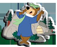 yogi bear yawning after hibernation