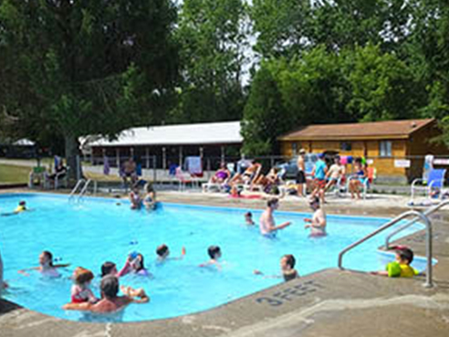 campers in swimming pool