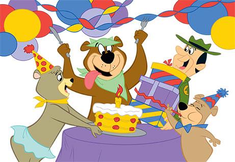 graphic of yogi bear celebrating birthday