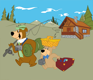 yogi and boo going fishing graphic with cabin