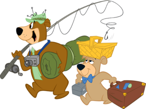 graphic of yogi bear and boo boo with camping and fishing gear