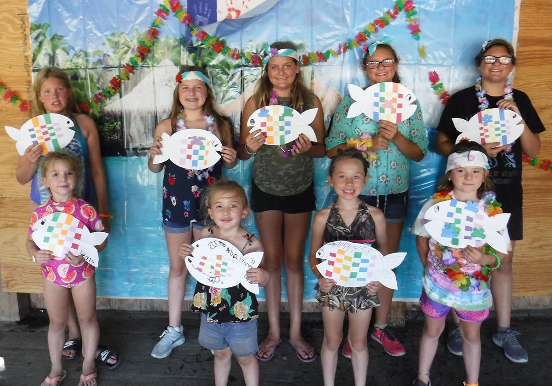 kids crafts holding fish