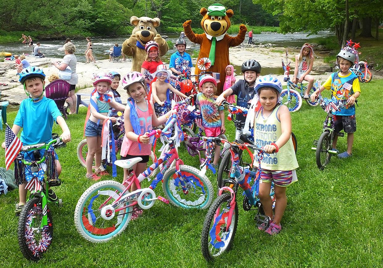 kids on bikes with yogi bear