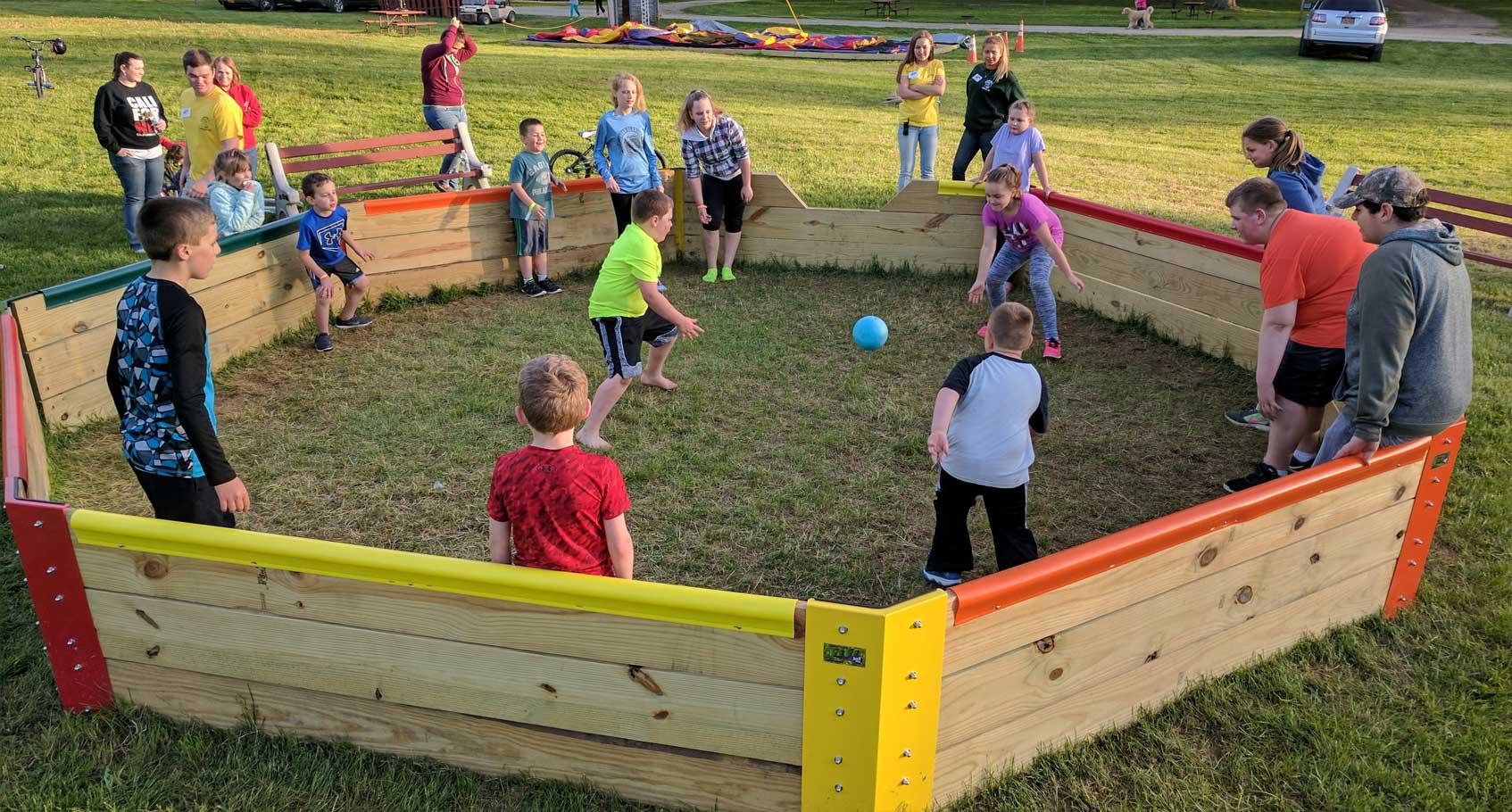 group of children playing gaga ball