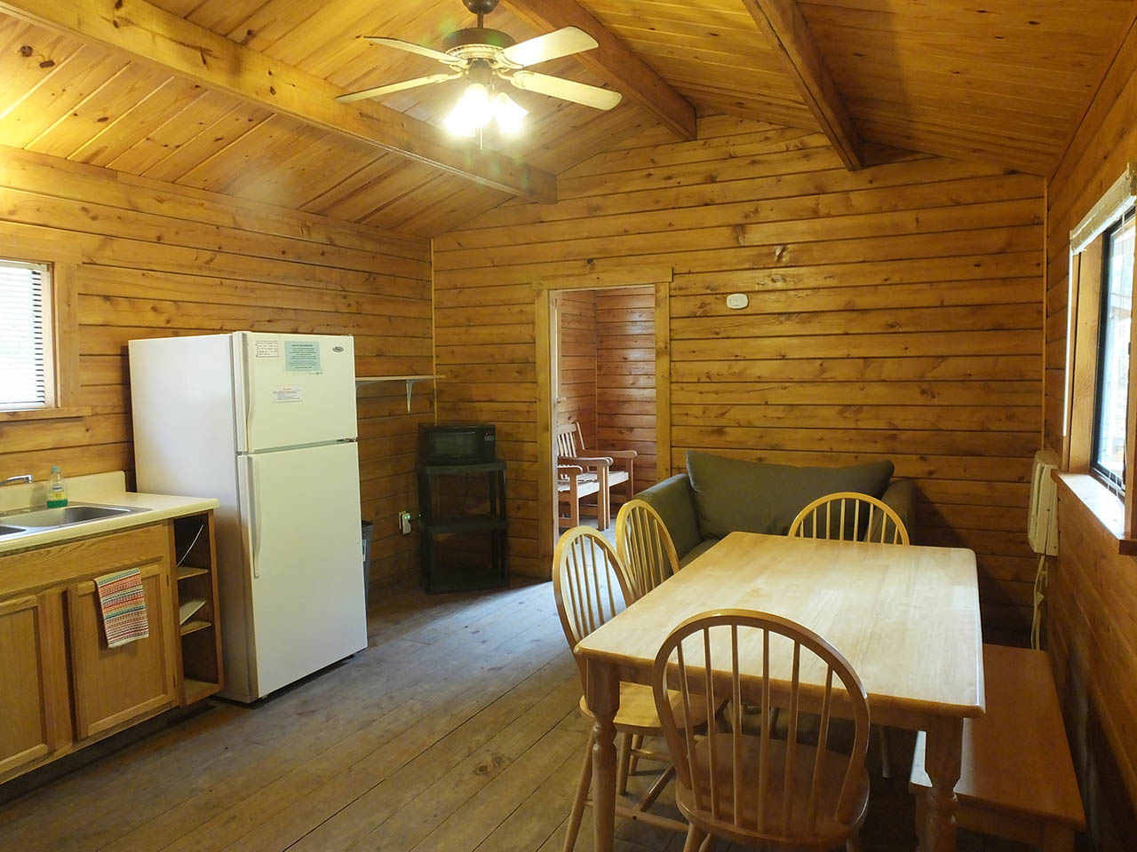 kitchen area of deluxe cabin